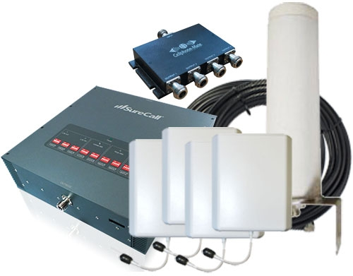 SureCall Force-5 Highly Linear 72db 5 Band Repeater Kit - Omni/4 x Panel [700/800/1700/1900/2100mhz]